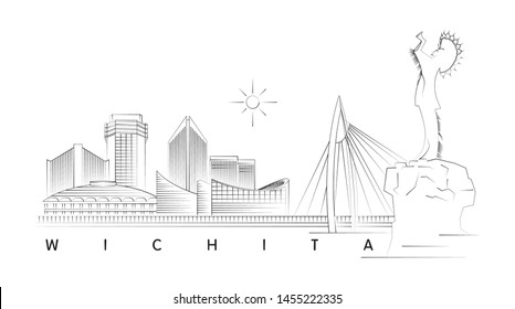 Wichita, Kansas skyline minimal linear vector illustration and typography design