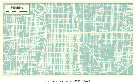 Wichita Kansas USA City Map in Retro Style. Outline Map. Vector Illustration.