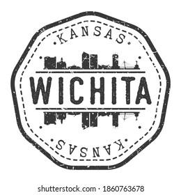 Wichita, KS, USA Stamp Skyline Postmark. Silhouette Postal Passport. City Round Vector Icon. Vintage Postage Design.