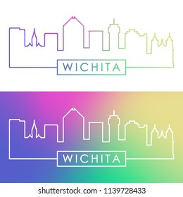 Wichita skyline. Colorful linear style. Editable vector file.