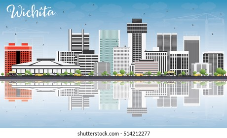 Wichita Skyline with Gray Buildings, Blue Sky and Reflections. Vector Illustration. Business Travel and Tourism Concept with Modern Architecture. Image for Presentation Banner Placard and Web Site.
