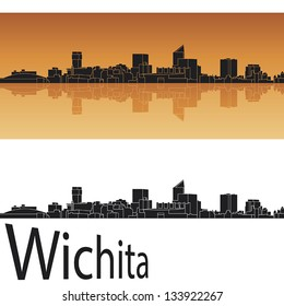 Wichita skyline in orange background in editable vector file