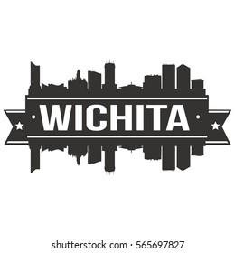 Wichita Skyline Stamp Silhouette City Design