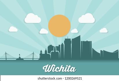 Wichita skyline - United States of America - USA - Kansas - vector illustration