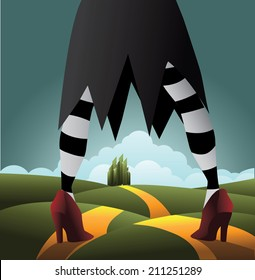 Wicked Witch standing On the road EPS 10 vector