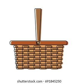 wicker basket camping cartoon icon symbol empty