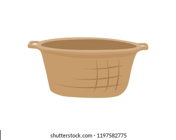 Wicker basket container isolated icon vector. Pannier for fruits and vegetables, rustic item for carrying something inside. Object with handle closeup