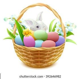 Wicker basket with Easter eggs, flowers and bunny. Isolated on white vector illustration