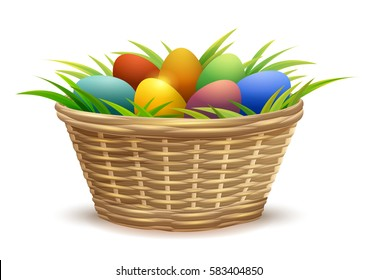 Wicker basket full of Easter eggs on grass. Isolated on white background vector illustration