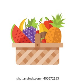 Wicker basket full of fruits. Modern flat design concepts for web banners, web sites, printed materials, infographics. Colorful vector illustration isolated on white background