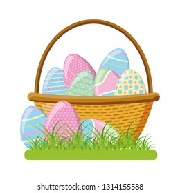 wicker basket happy easter eggs