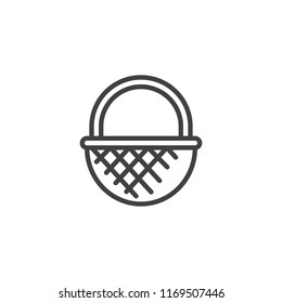 Wicker basket outline icon. linear style sign for mobile concept and web design. Straw basket simple line vector icon. Symbol, logo illustration. Pixel perfect vector graphics