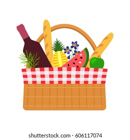 Wicker basket for a picnic with food and flowers. Flat vector illustration isolated on white background in cartoon style