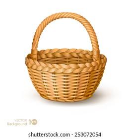Wicker basket. Vector.