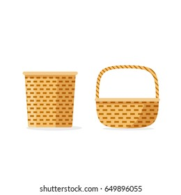 Wicker basket vector icons isolated, flat cartoon weave, storage or picnic decorative baskets set
