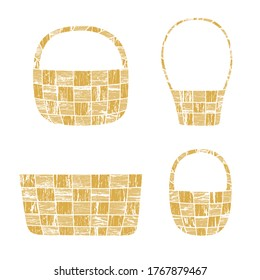 Wicker basket vector illustrations with a grungy wood texture, isolated on white