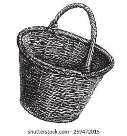 wicker basket vector logo design template.  handicraft or traditional craftsmanship icon.