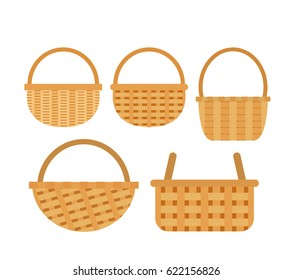 wicker baskets set on white background