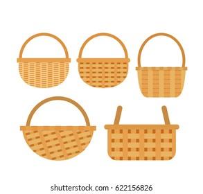 wicker baskets set on white background