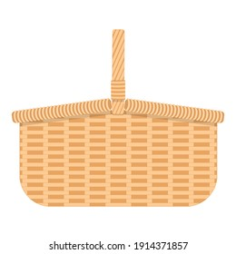 Wicker hamper for food and drinks. Woven willow basket for camping isolated on white background. Vector flat cartoon illustration