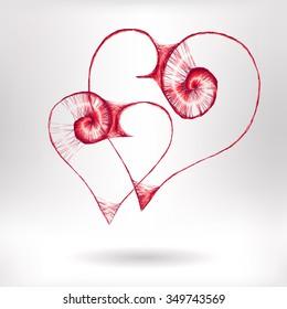 Wicker hearts - vector illustration