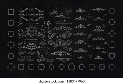 Wicker lines and black decor elements. Vintage borders, frame and rosette in set. Vector page decoration. Decoration for logos, wedding album or restaurant menu. Calligraphic design elements