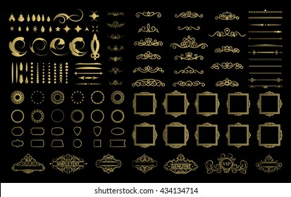 Wicker lines and decor elements in vector. Vintage borders, frame collection in gold color. Retro page decoration. Decoration for logos, wedding album or restaurant menu. Calligraphic design elements