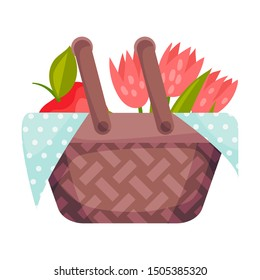 Wicker picnic basket with flowers and apple. Vector illustration on a white background.