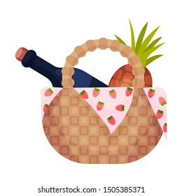 Wicker picnic basket with pineapple and a bottle. Vector illustration on a white background.