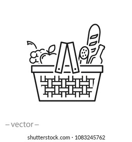 Wicker picnic basket with products icon - line sign, vector illustration eps10