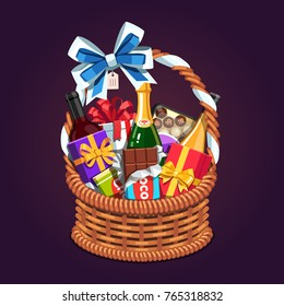 Wicker present basket full of gifts. Handmade retro wickerwork gift basket with handle, big ribbon bow, champagne & wine bottles, present boxes, chocolate. Flat style vector isolated illustration.