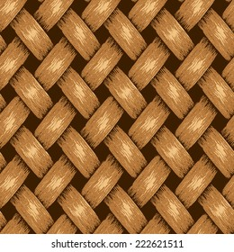 Wicker Seamless Background, Vintage Wooden Basket Textured, Braids and Wavy Stripes