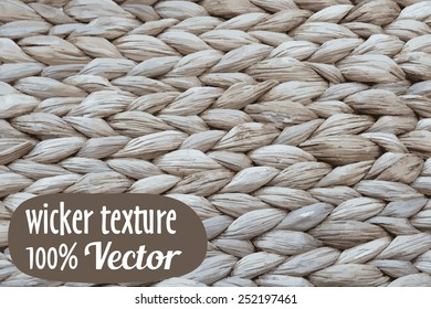 Wicker texture background. Vector illustration in rustic style