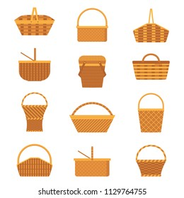 Wicker and willow picnic baskets set isolated on white background. Collection of various weaving hampers with handles. Flat straw basket icons.