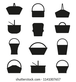 Wicker and willow picnic baskets silhouettes. Collection of various weaving hampers with handles. Straw basket outline shapes.