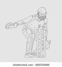 Wicket keeper line art, vector art stumping position cricket keeper