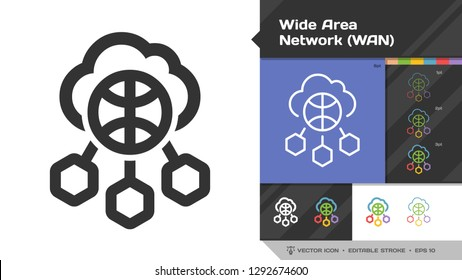 Wide area network WAN icon black glyph silhouette and editable stroke thin outline single with world internet technology, cloud computing and  networking communication symbol.