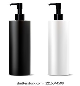 Wide black and white cleanser dispenser pump bottles mockup set. High quality cosmetic package design template. Vector illustration. Shampoo conditioner highlight activating cosmetics.