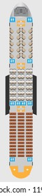 Wide body Aircraft Seat Map with restroom Vector illustration