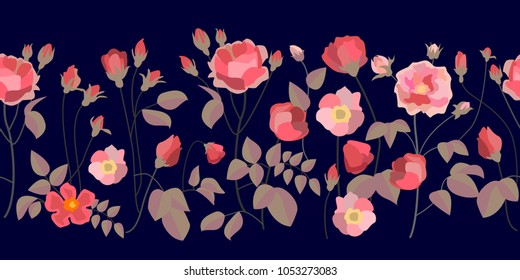 Wide border with bloomig roses. Abstract floral ornaments with English vintage motifs. On black background.