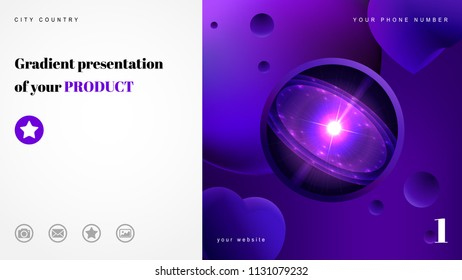 Wide business background for print or website. Abstract gradient and Quasar in space. Place for text