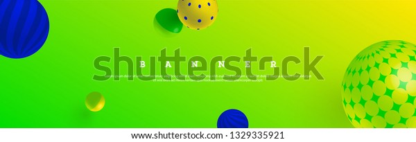 Wide cover design with 3D style balls on bright gradient background.