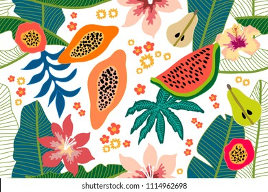 Wide floral pattern with tropical fruits and leaves. Seamless botanical print with watermelon, papaya and pears on light background. Retro textile collection.