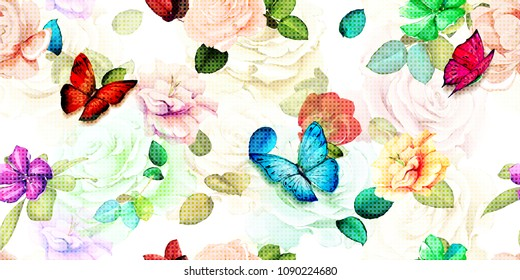 Wide floral vintage seamless background pattern. Roses flowers, magnolia with leaf and butterfly around on white. Watercolor abstract, hand drawn, vector - stock.