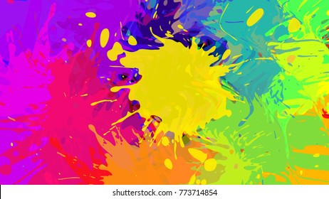 Wide Format Abstract Colorful Grunge Background Place For Text Paint Splashes