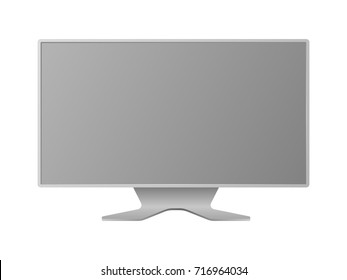 Wide format computer monitor isolated on white background vector