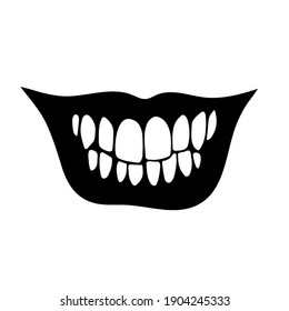 wide frightening human smile with teeth