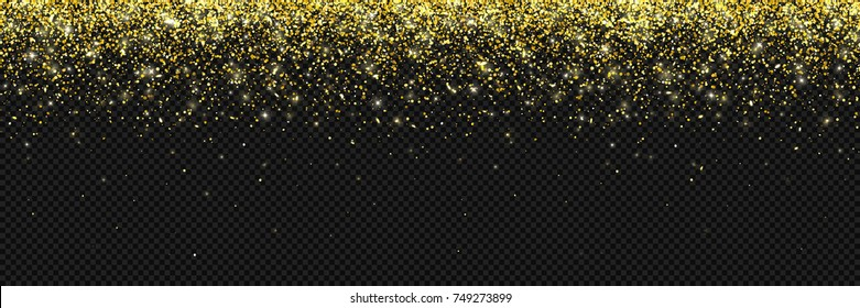 Wide gold glitter particles on dark transparent background. Vector