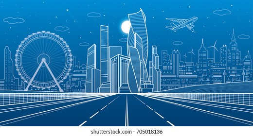 Wide highway. Urban infrastructure illustration, futuristic city on background, modern architecture. Airplane fly. White lines on blue background, night scene, vector design art
