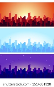 Wide horizontal cityscape at different times. Seamless panorama of skyscrapers roof silhouettes in the morning, afternoon and evening. Vector illustration.
